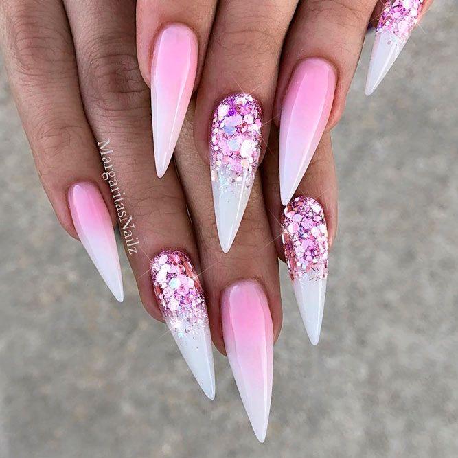 Pink Glitter Ombre Nails #glitternails #pinknails