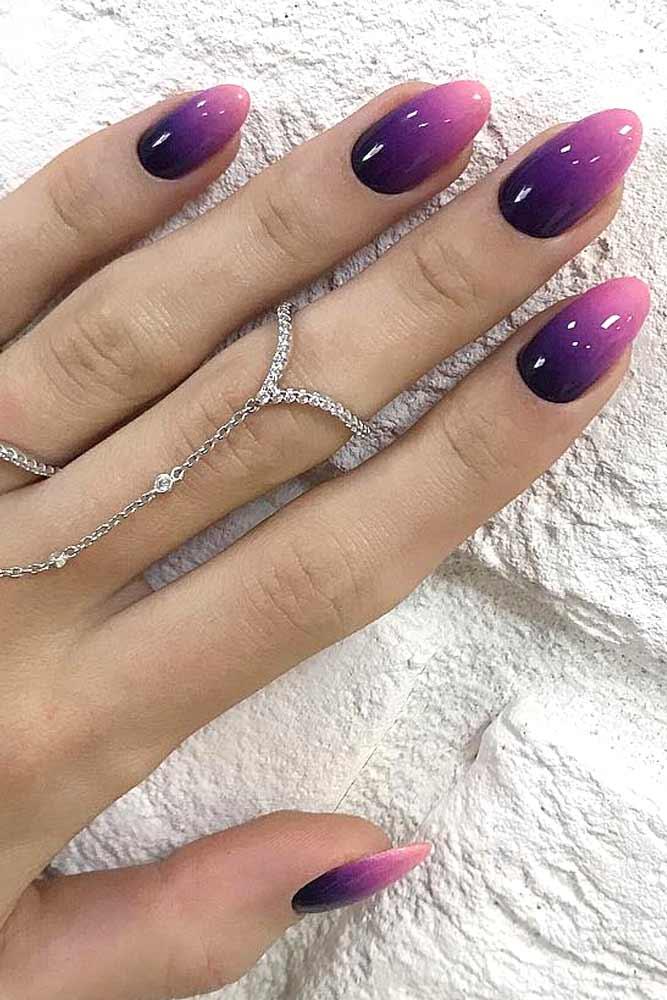 Ombre Nails Design With Purple Shades #purpleombre #almondnails