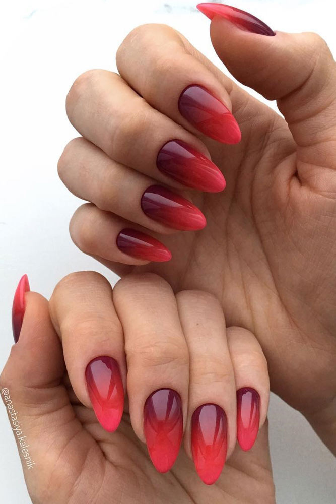 Hot Red Ombre Nails For A Romantic Evening #redombre #rednails