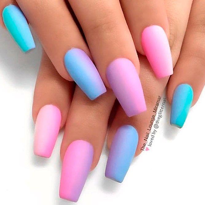 Matte Unicorn Ombre Nails #mattenails #coffinnails