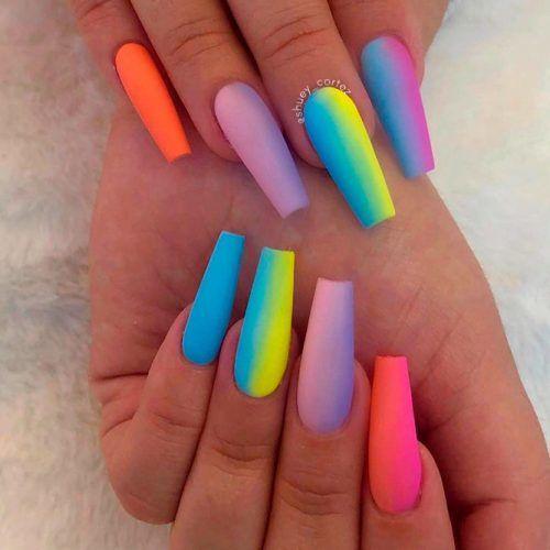 Matte Rainbow Nail Art #mattenails #rainbownails