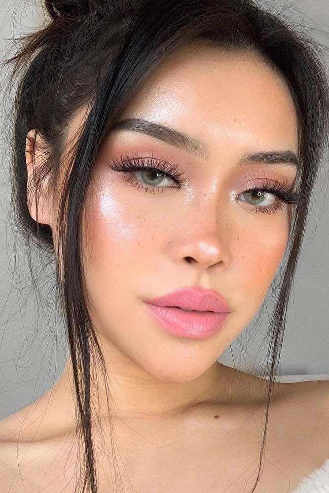 Soft Natural Makeup With Natural Lipstick #pinklipstick
