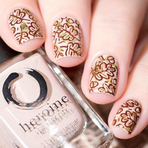 Fall Pattern With Gold Foil #goldfoilnails #patternednails