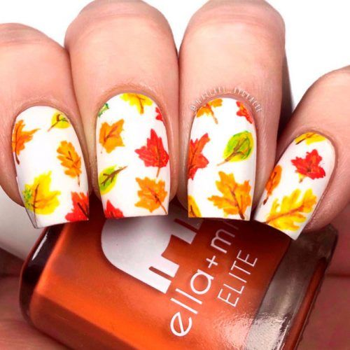 Hand Painted Leaves Nail Art #leavesnails #handpaintednails