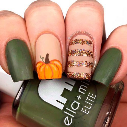 Pumpkin Nail Art #glitternails #pumpkinnails