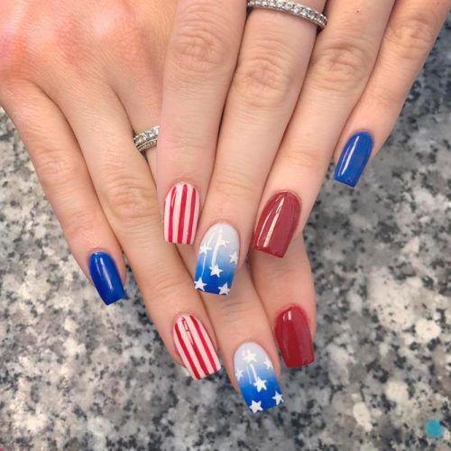 Patriotic Ombre Nail design #patrioticnails #ombrenails