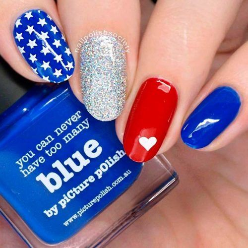 Blue And Red Nail Art With Glitter Accent #gkitternails #patrioticnails