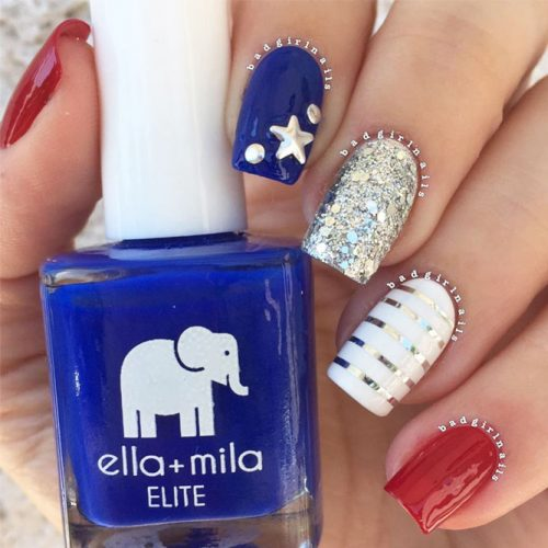 Festive Red White and Blue Nail Designs picture 3