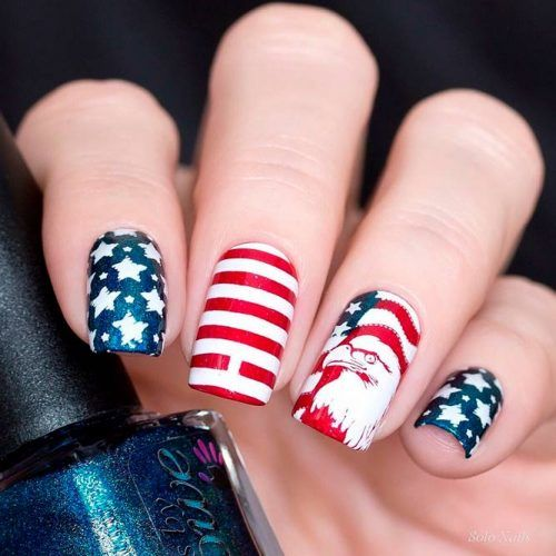 Fancy Nail Art With American Flag And Eagle #patrioticnails #metallicnails