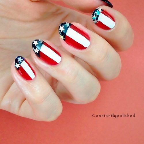 Patriotic French Nail design #frenchnails #patrioticnails