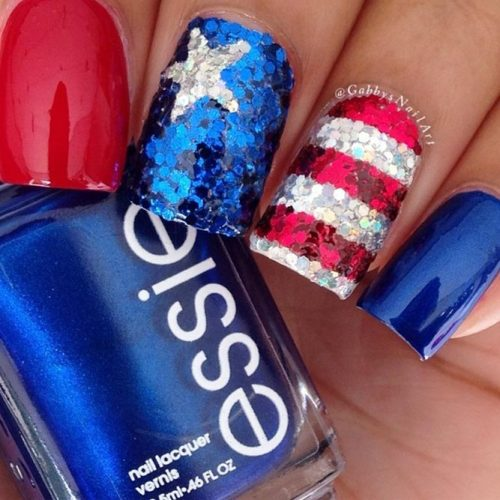 Festive Red White and Blue Nail Designs picture 5