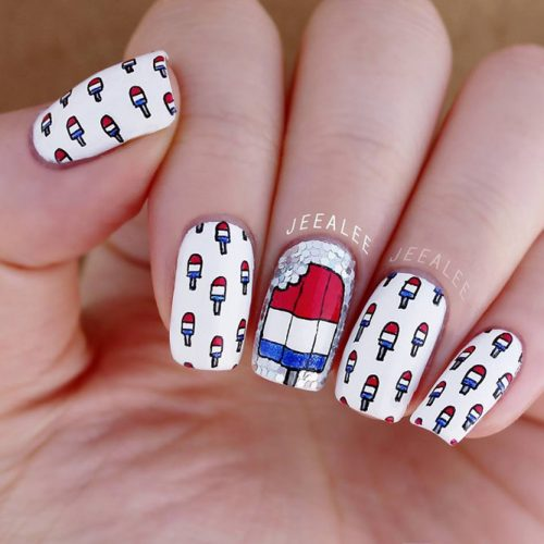 Festive Red White and Blue Nail Designs picture 6