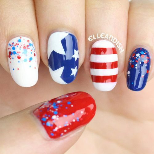 Festive Red White and Blue Nail Designs picture 4