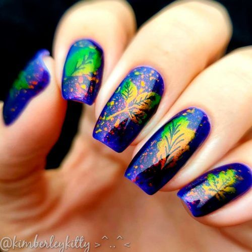 Holographic Fall Nail Design #holonails