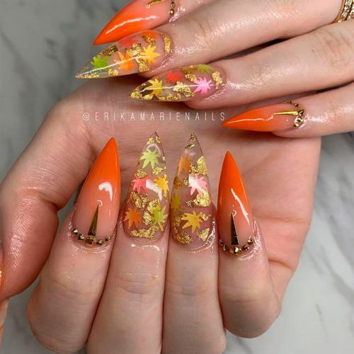 Fall Nail Art With Gold Foil #foilnails #stilettonails
