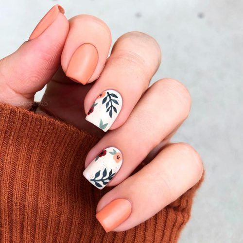 Matte Floral Nail Design For Fall Wearing #mattenails #shortnails