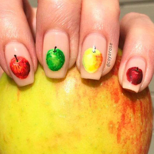 Juicy Apple Nail Art #prettynails #cutenails