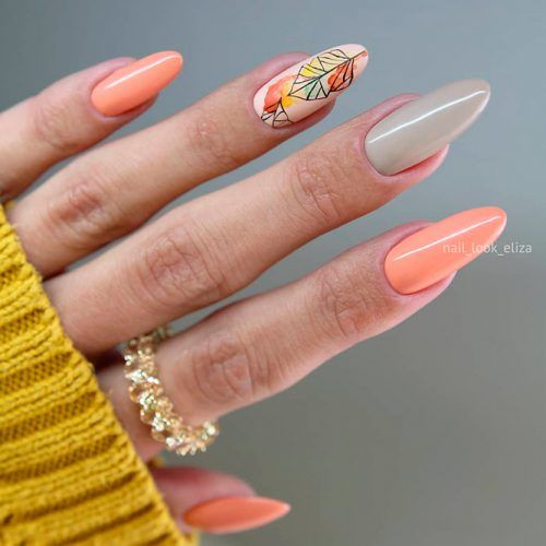 Stylized Leaf Nail Art #almondnails