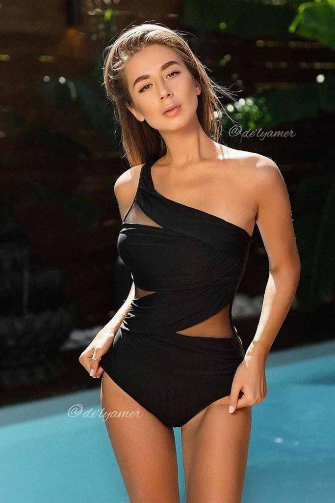 Black Asymmetric Black One Piece Swimsuit #blackswimsuit