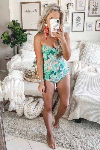 One Piece Swimsuit With Palm Print #palmprint