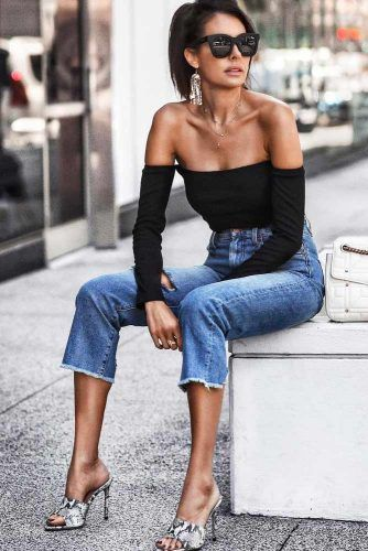 Black Off The Shoulder Top With Jeans Outfit #jeans