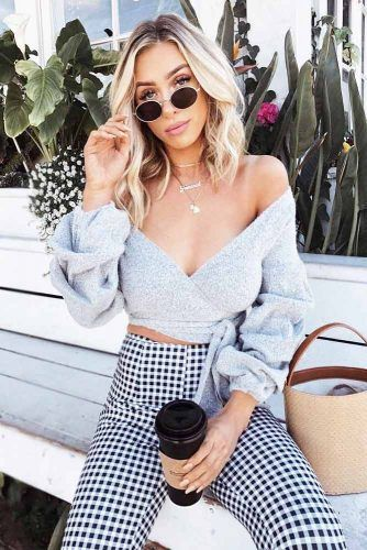 Off The Shoulder Top With Long Sleeves With Plaid Pants Outfit #plaidpants