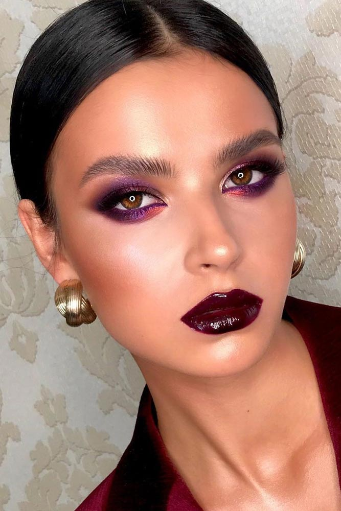 Purple Smokey With Burgundy Lipgloss #purplesmokey