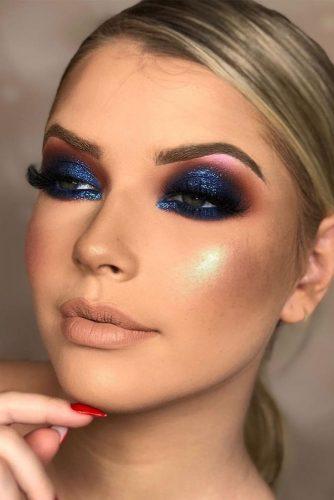 Deep Blue Smokey Eyes Makeup #blueshadow #glittershadow