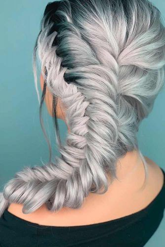 Voluminous Side Fishtail Braid #sidebraid #braidedhairstyle
