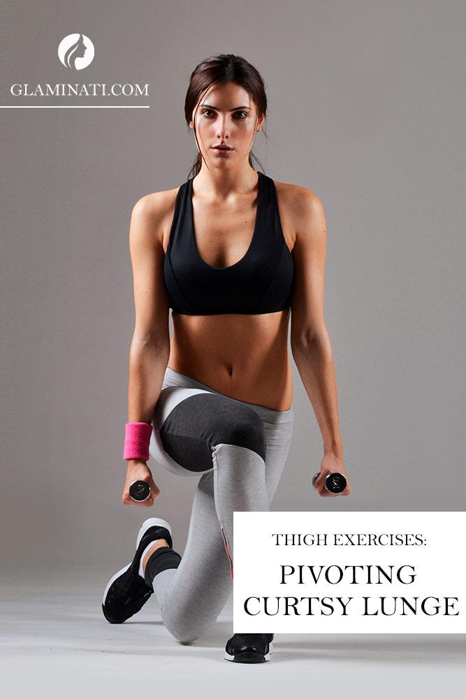 Thigh Exercises: Pivoting Curtsy Lunge #easyexercise #exercise