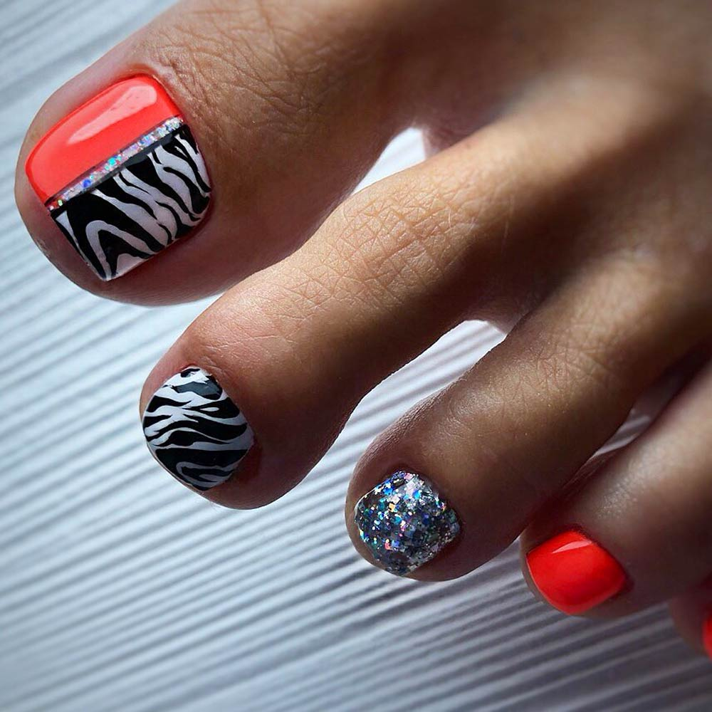 Zebra Pattern Nail Design