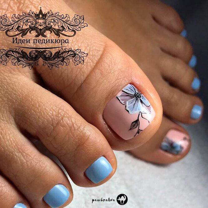Blue Nail Art Design #bluenauls #floralnails