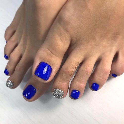 Blue Nails With Rhinestones #bluenails #rhinestonesnails