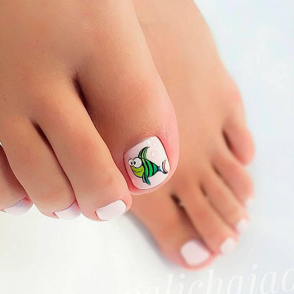 Cartoon Fish Nail Art For Toes #cartoonnailart #funnynaildesign