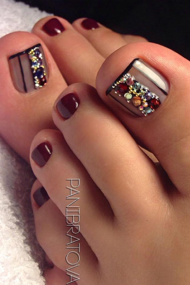 French Mani with Rhinestones