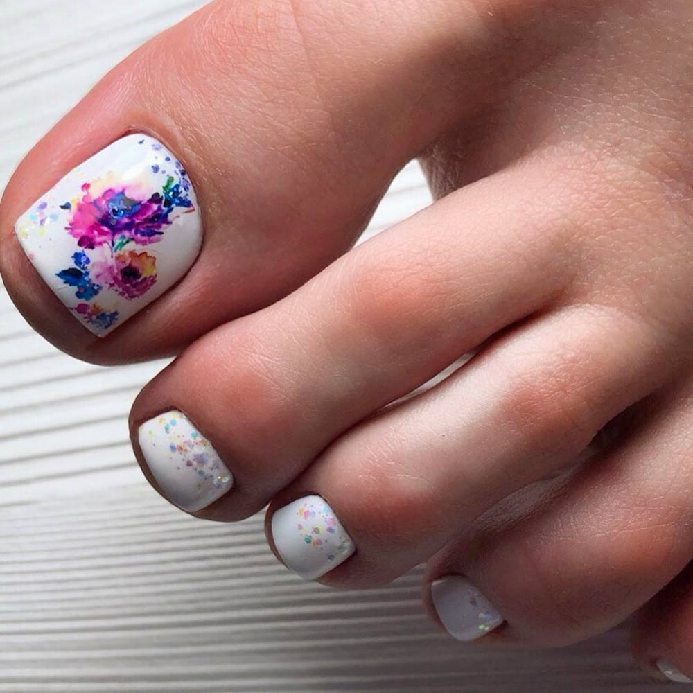 Watercolor Flowers Toe Nails