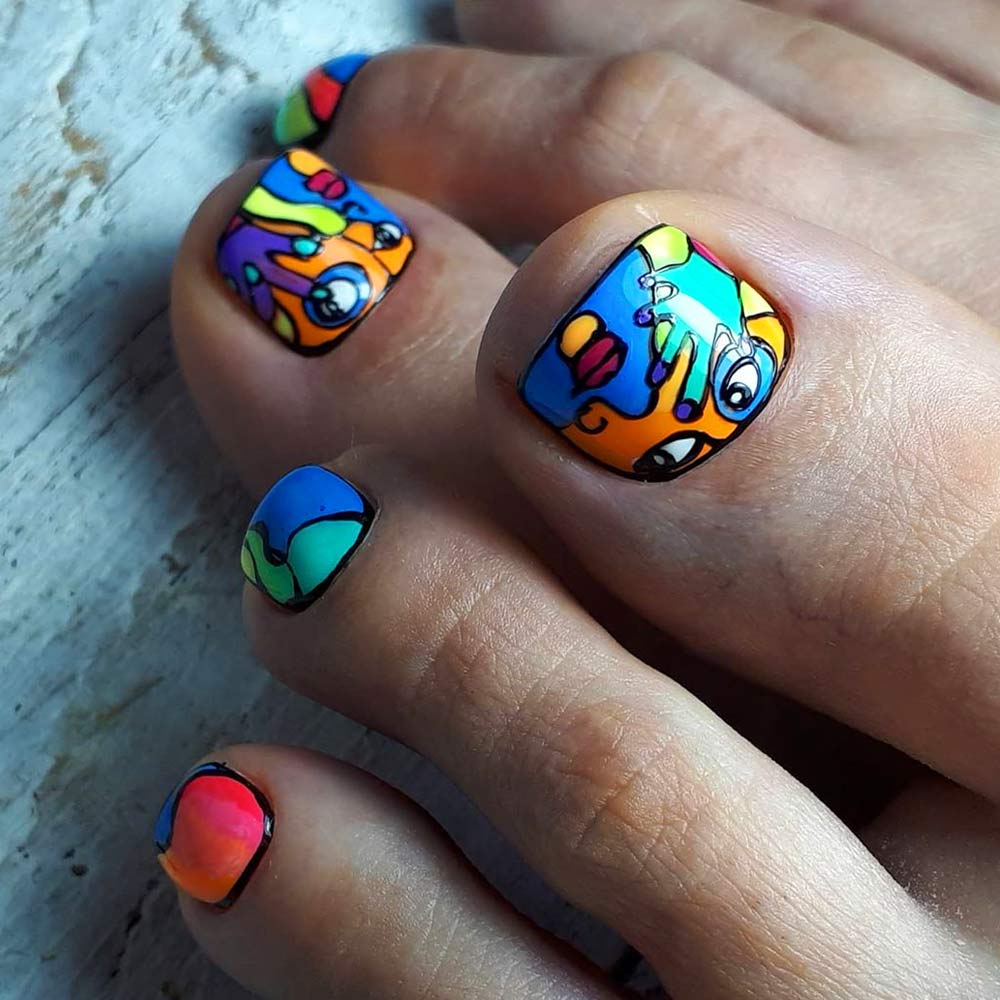 Unreal Abstracted Toe Nails Designs