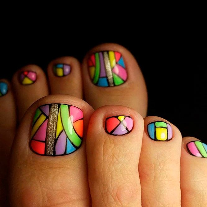Colorful Toe Nails With Gold Glitter Accent #colorfulnails #toenailart