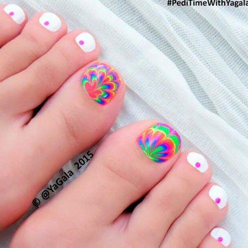 Bright Water Marble Nails #watermarblenails #toenailart