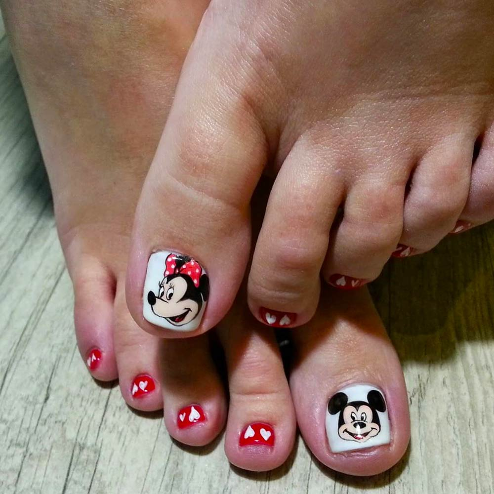 Cartoon Nail Art For Toes