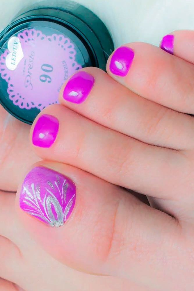 Charming Pink Toe Nails #pinknails #floralnails