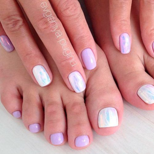Pale Nail Design With Holographic Accents #holonails #lilacnails