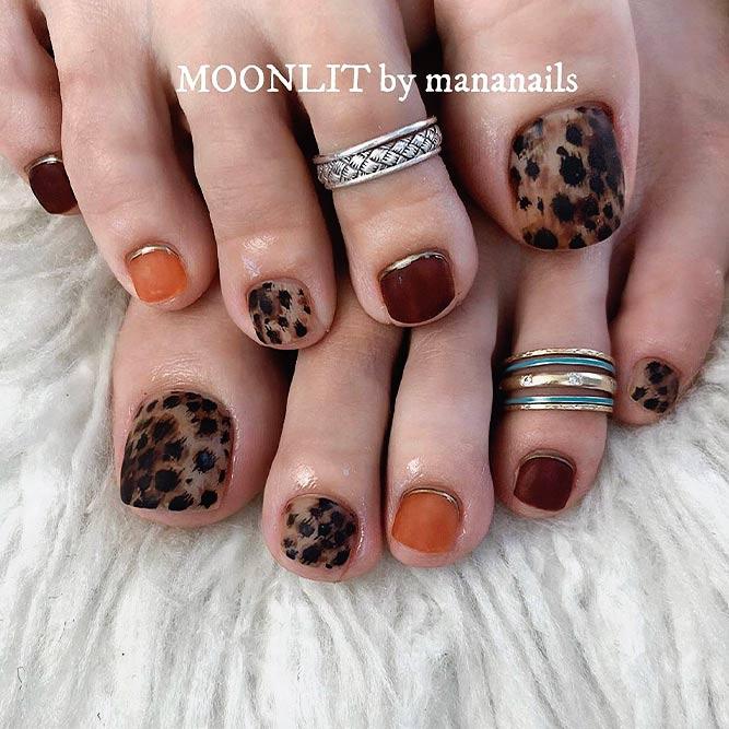 Leopard Toe Nail Design #mattenails #leopardnails