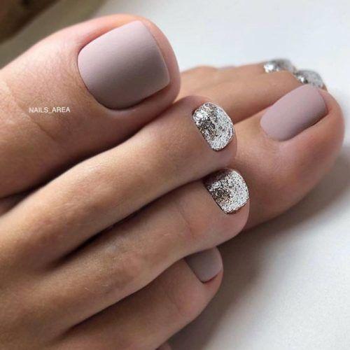 Matte Grey Nail Art #mattenails #glitternails