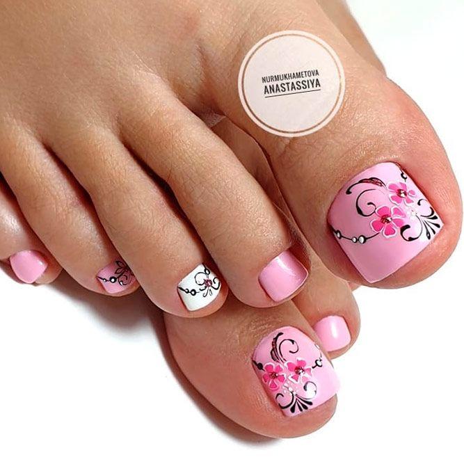Pink Nail Design #pinknails #floralnails