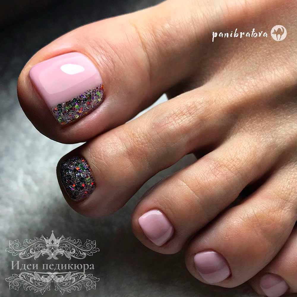 Gentle Pink Nail Art With Glitter #pinknails #sweetnailart