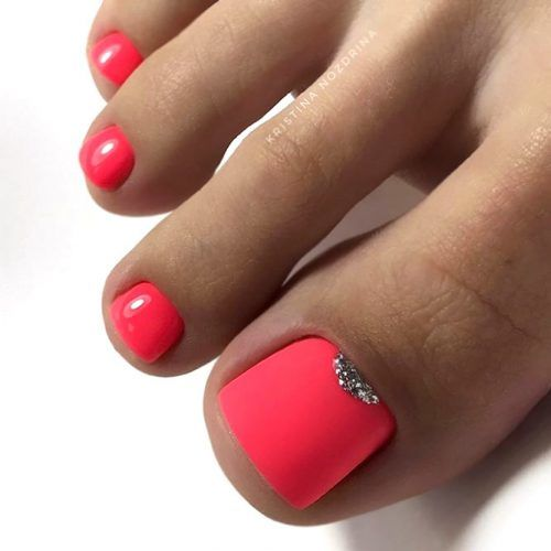 Matte Pink Nails with Glitter Accent #glittarnails #mattenails