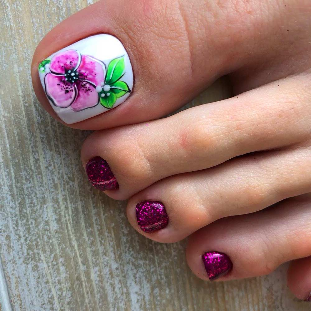 Sweet Summer Flowers Nail Art Design