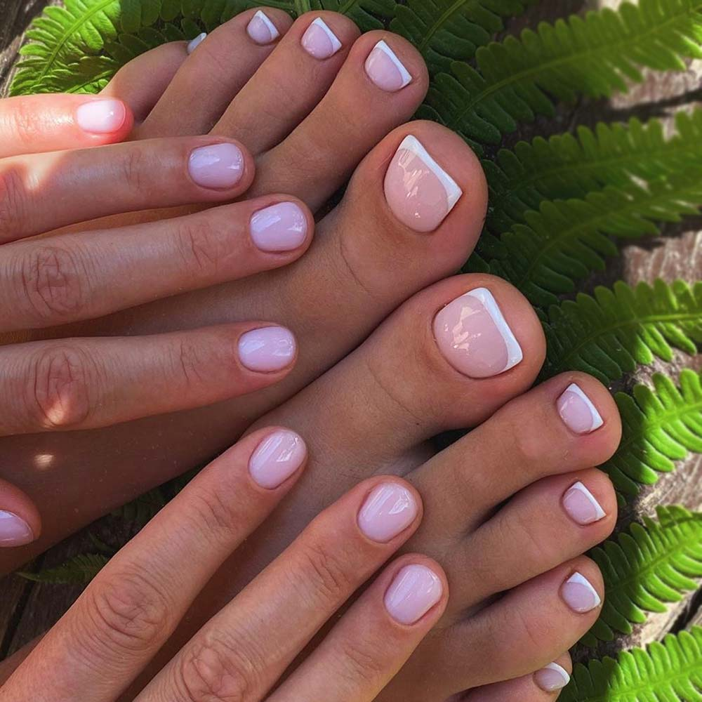 Elegant Matching Mani And Toe Nail Design