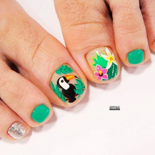 Tropic Nail Art Design #tropicnails #floralnails